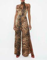 MISSGUIDED Leopard Print Split Leg Jumpsuit - Brown   (cam214)