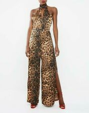 MISSGUIDED Leopard Print Split Leg Jumpsuit - Brown   (cam214)