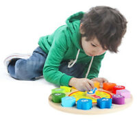 Shape Sorting Clock Toy Wooden Puzzle Number Educational Blocks N