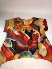 Feratelli Size M Sharkbite Hem Top Red Yellow Orange Fun Funky