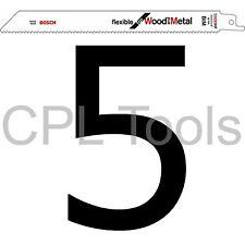 """5 BOSCH S1022HF Alternative Sabre Lames de scie 200 mm/8"""" Flexible Bois + Métal"""