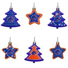 Boise State Broncos Shatterproof TREES & STARS Christmas Tree Ornaments 6 pack