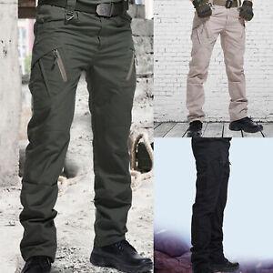 Mens Waterproof Hiking Tactical Trousers Outdoor Fishing Walking Combat Pants UK