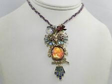 Betsey Johnson Gold-Tone Multi-Stone Owl Purple Cord Pendant Necklace