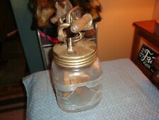 VINTAGE BUTTER CHURN CAST IRON TOP WOODEN PADDLE GLASS JAR HAS A RIBBED DESIGN