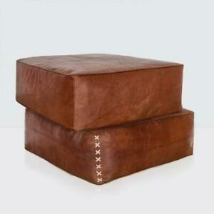 square Ottoman Pouffe Moroccan leather, ottoman square pouf, handmade footstool
