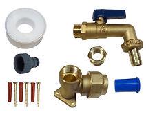 25 mm MDPE Heavy Duty leva KIT rubinetto esterno | piastra muro in ottone e raccordo del tubo flessibile