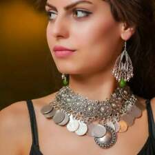 STATEMENT NECKLACE Antique Silver Collar Chunky Boho Choker - FAST FREE Shipping