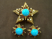 Florenza 1950's Ear Clips & Pendant or Enhancer-Faux Turquoise & Red Crystal