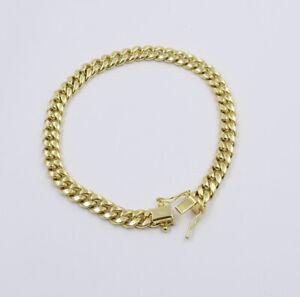 "Real Gold 10k yellow Gold Cuban link bracelet 6mm 8"" Long Box Lock men's Strong"