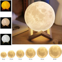 3D Printing Moon Lamp USB LED Night Light Moonlight Touch Color Changing 8-20CM