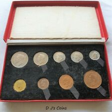 More details for 1950 king george vl 9 coin proof set, half crown to farthing in original red box