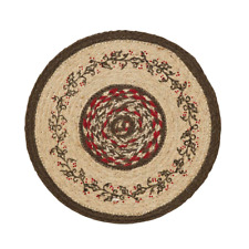 """Christmas Winter HOLLY BERRY Braided Jute 13"""" Table Mat"""
