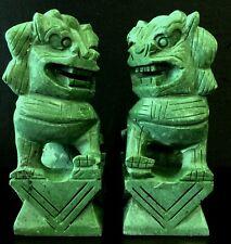 "Pair of 8"" Green Jade Foo Dogs (HJ018G)"