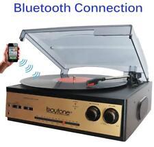 Boytone Bt-13G 3-Speed Stereo Turntable Bluetooth Belt Drive Am/Fm Radio Aux Rca