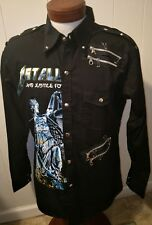 Rare VTG Metallica And Justice for All Black L/S Metal Snap Shirt Men's XL