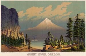 View Mount Hood Oregon vintage travel poster repro 18x12