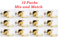 12 Packs Reversible Privacy / Passage Wave Style Door Lock Lever Polished Brass