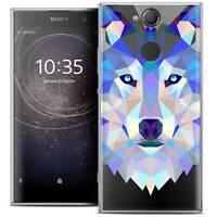 """Coque Housse Etui Pour Sony Xperia XA2 (5.2"""") Polygon Animal Souple Fin Loup"""