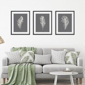 Feather Print Set, Set of Prints, Wall Art Prints, Feather Prints, Grey Prints