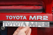 ' TOYOTA MR2 ' MK1 REAR BOOT LID STICKER IN LIGHT SILVER WITH DARK OUTLINE.