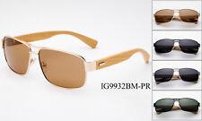 Polarized Sunglasses Aviator Bamboo Classic Men Women Square Wooden Frame UV100%