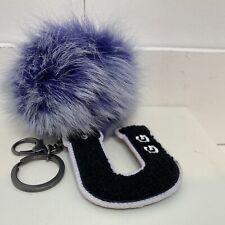 UGG Keychain Toscana Tip Pom With U Patch Key Holder Handbag Charm Purple