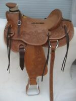 Designer Brown Wade Western Leather Ranch Roping saddle, available in 4 sizes.