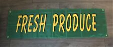 Fresh Produce Banner Green Advertising Sign 1.5x5 Farmers Market Grocery Store