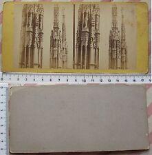 Stereofoto Milano - Guglie del Duomo particolare - fine '800