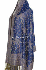 Gorgeous Pashmina & Silk Paisley Shawl-Dark.Blue#A