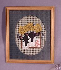 Folk Art-Dimensional Applique-Framed & Mat-Cows-11x9.75