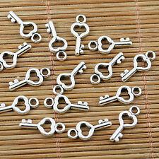 60pcs tibetan silver tone mini heart key charms EF1707