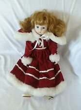 "15"" Porcelain Doll w Red Velvet Dress & Matching Cape"