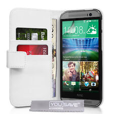 Faux White Leather Stand Flip Wallet Card Phone Case Cover For HTC ONE M8