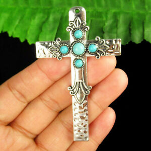 Carved Tibetan silver Wrapped Turquoise Cross Pendant Bead F89793