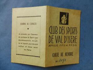 CARTE FEDERATION FRANCAISE DE  FFS SKI CLUB DES SPORTS DE VAL D ISERE 1945