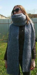 Premium Mohair Super Long Scarf 280 cm Hand knitting Gray Jane Rodas