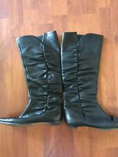 Jimmy Choo Black Leather flat boots scrunched side detail size 37.5 $1295
