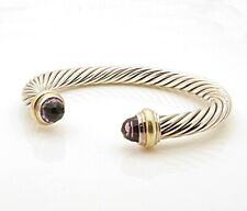 David Yurman Cable Collection Sterling Silver and 14k Amethyst Bangle