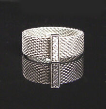 TIFFANY & CO ~ $800 ~ MINT POUCH SOMERSET DIAMONDS WIDE RING ~ DIFFERENT SIZES