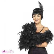 180cm Deluxe Black Feather Boa 20s Gatsby Flapper Burlesque Fancy Dress