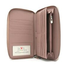 Brelox Travel Family RFID Passport Holder Wallet - Genuine Leather - Pink