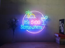 New It's 5 O'clock Somewhere Beer Bar Neon Sign Wall Home Decor With Dimmer