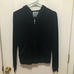 Y2K Juicy Couture Track Jacket Hoodie Full Zip w/ J Emblem Women's SZ XL Black