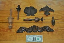 Antique Toppers finials and other wooden embellishments 7 piece collection nice!