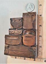6 Pcs Vintage Copper On Wood Letterpress Print Blocks Household Tools Pb27