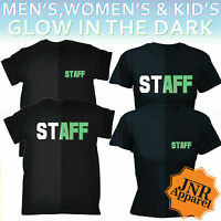 Staff Glow In The Dark T-SHIRT Uniform Barman Workwear Tee Nightclub birthday
