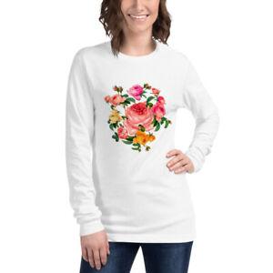 T-shirt Unisexe Manches Longues Seductive Romantic bouquet roses Garland flowers