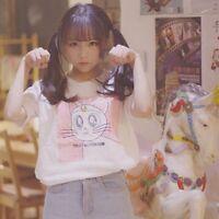 Anime Sailor Moon T shirt Girls Cute Luna Cat Printing Short Sleeve Tee White